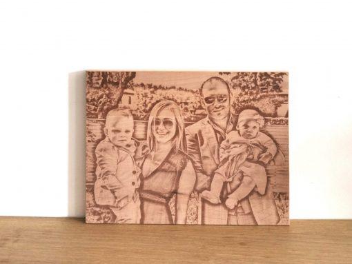 Bildgravur auf Holz rechteckig