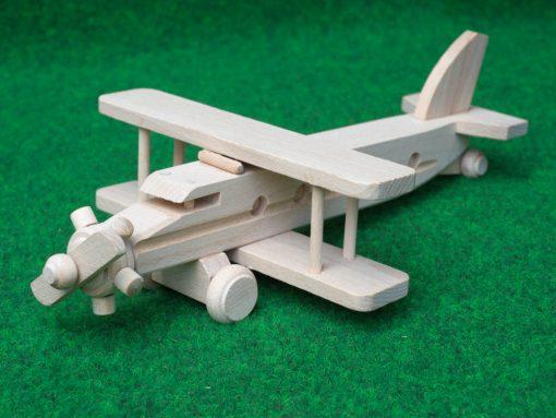 Doppeldecker Flugzeug aus Holz