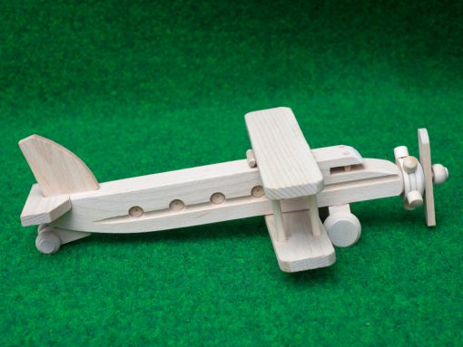 Doppeldecker Flugzeug aus Holz - nachhaltig spielen