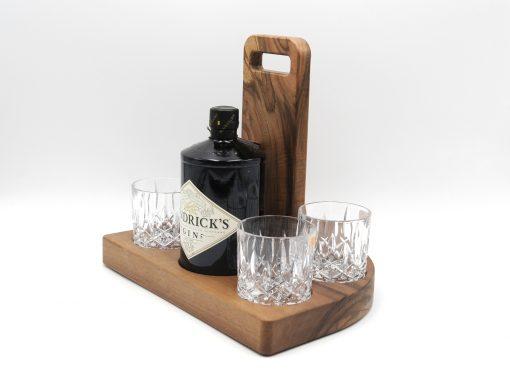 Hendricks Gin geschenkset aus Nuss mit Griff