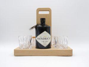 Hendricks Gin geschenkset aus Kastanie mit Griff
