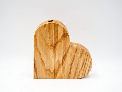 Holzherz groß aus Esche mit Vaseneinsatz
