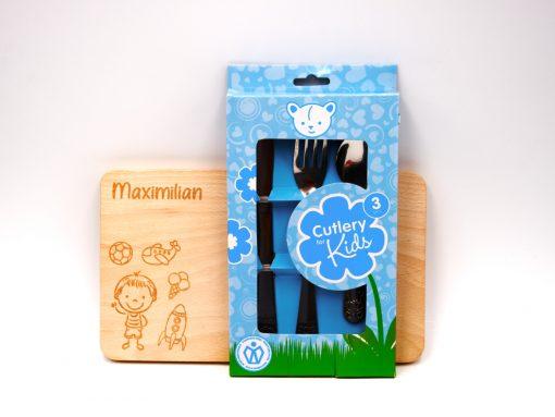 Kinderjausenbrett aus Holz mit Besteck blau