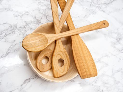 Küchenhelfer Set aus Holz - Kirsche