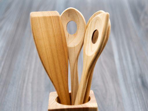 Küchenhelfer aus Holz - 4 kochlöffel aus Kirsche