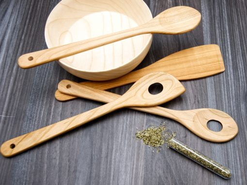 Küchenhelfer aus Holz - set mit 4 utensilien
