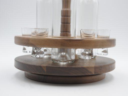 Schnapskarussell aus edlem Nussholz mit 3 Flaschen und Stamperl
