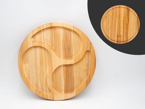 Zweiseitige Servierplatte aus Holz