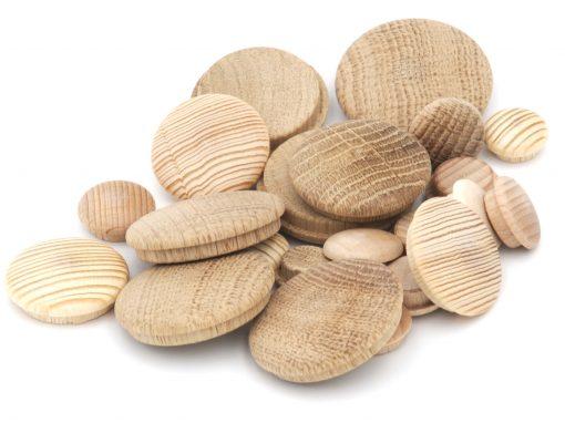 Abdeckkappen aus Holz zum Abdecken von Bohrlöchern