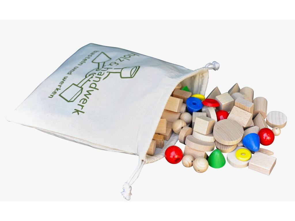 Bastelbox aus Holz Bunt mit Säckchen
