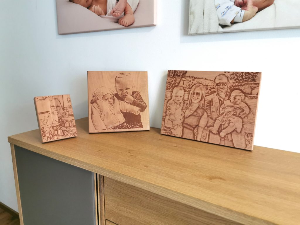 Bildgravur auf Holz in 3 verschiedenen Formaten