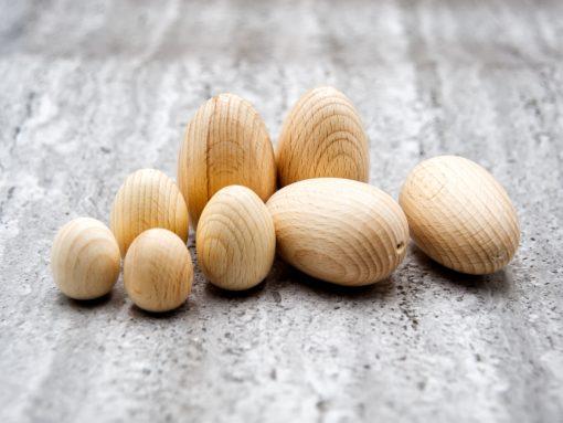 eier aus Holz - naturbelassene buche