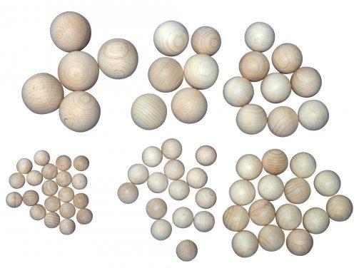 holzkugel sortiment ohne Bohrung größen 15-40mm