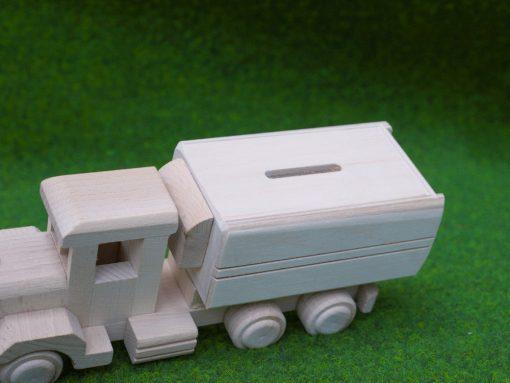LKW mit Spardose aus Holz