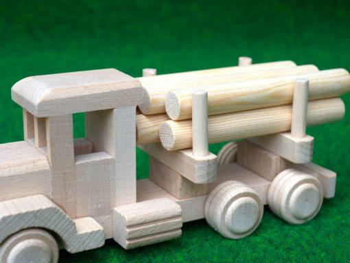 LKW mit Rundholz - nachhaltiges Spielzeug aus Buche