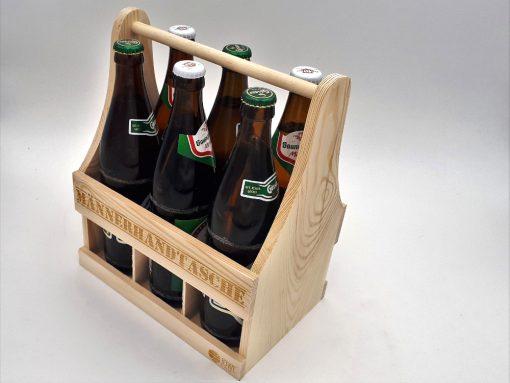 Männerhandtasche aus Holz - Bierträger aus Holz