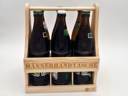 Männerhandtasche aus Holz für Bierflaschen