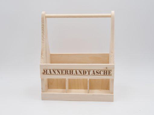 Männerhandtasche aus Holz mit Lasergravur
