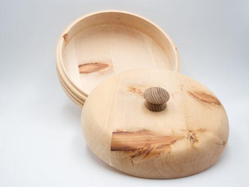 Runde Zirbenbrotdose aus heimischem Zirbenholz 2-20