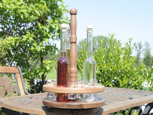 Schnapskarussell aus Holz-gefertigt aus Nussholz