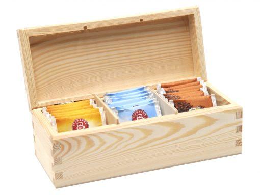 teebox aus holz klein für 3 sorten