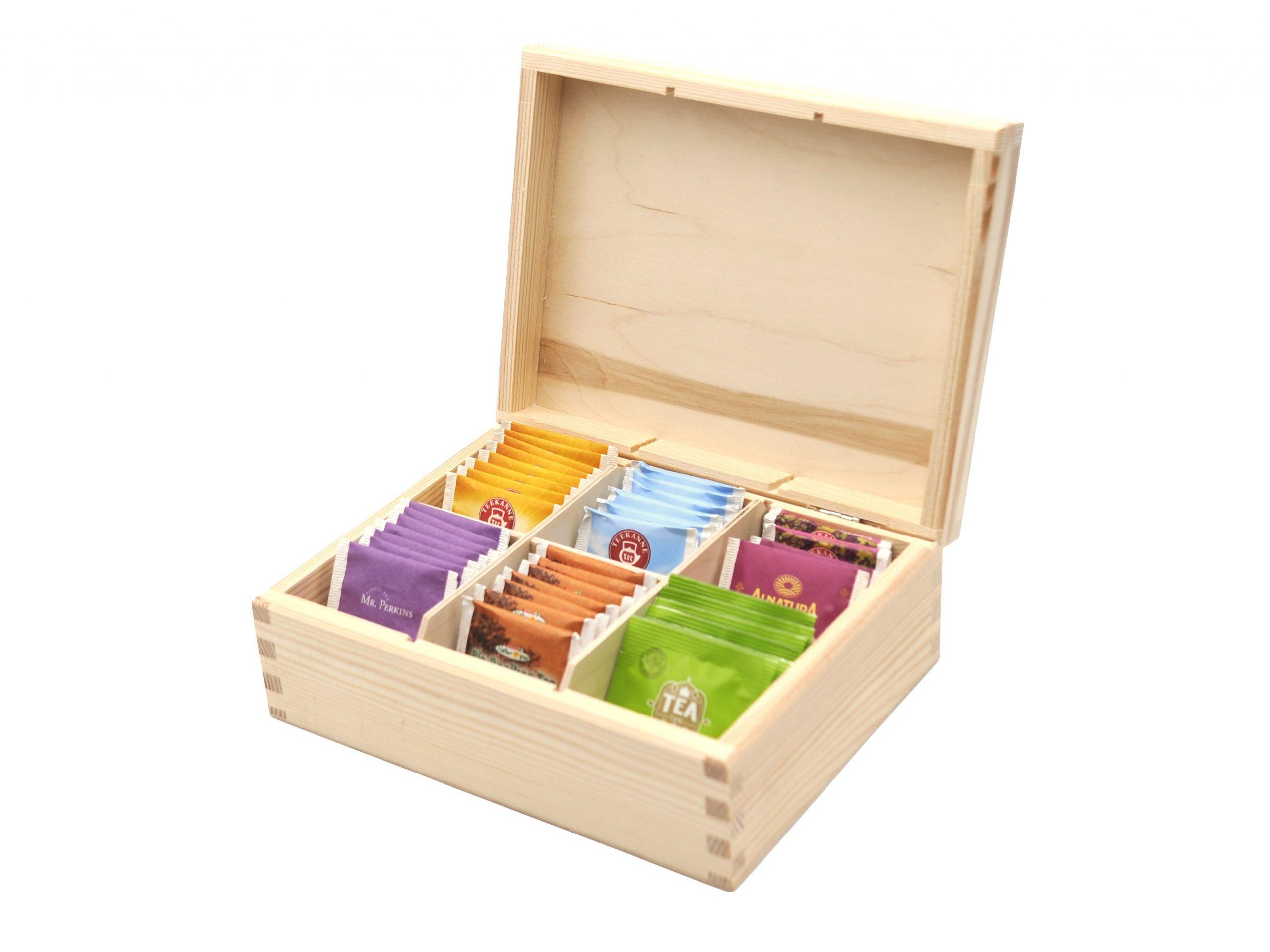 Teebox aus Holz | Teekasten in den Farben Weiß und Schwarz