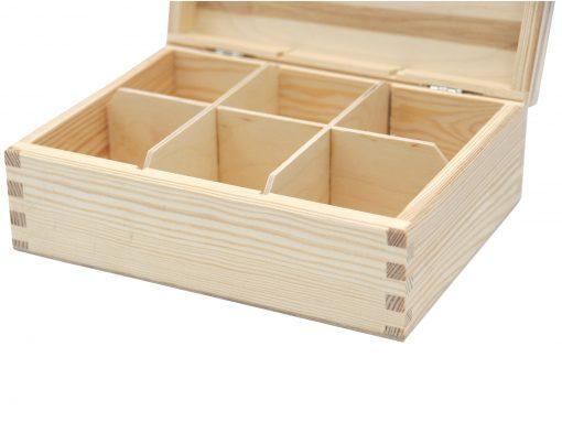 teebox aus holz 6 fächer eckverbindung