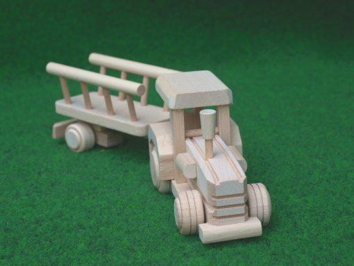 Traktor mit Anhänger aus Holz