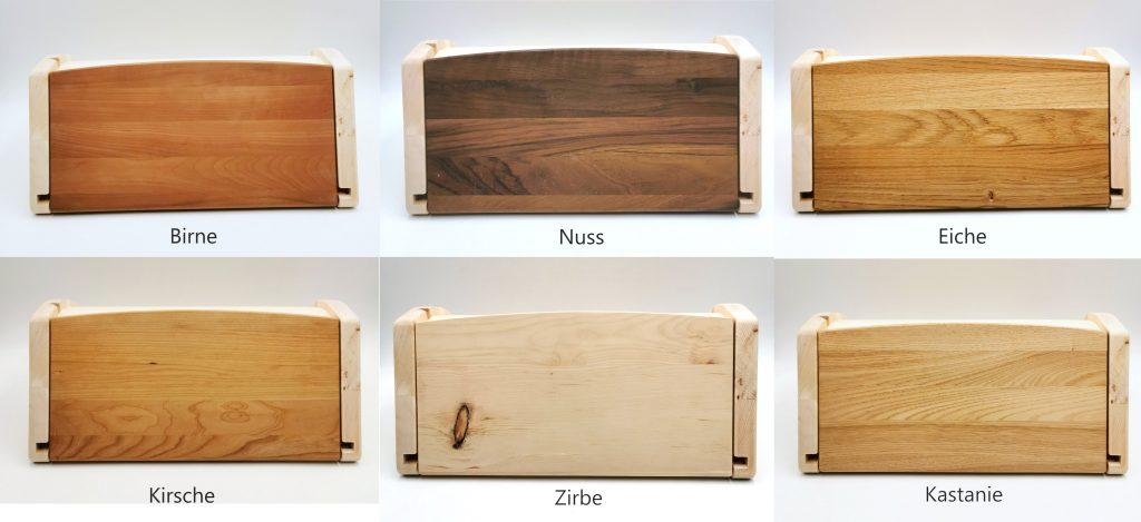 Zirbenbrotdose mit Schneidebrett in 6 edlen Holzarten